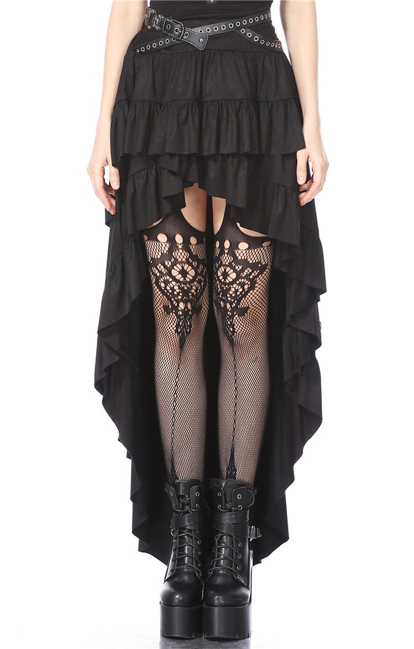 aded1c6a2473af Jupe noire longue et courte devant avec ceinture, gothique steampunk,  Darkinlove Référence : DARKIL073