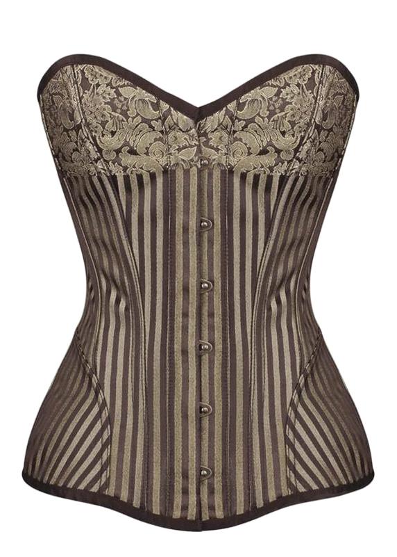 1b7eccb0c46 Brown striped golden overbust corset with removable bolero