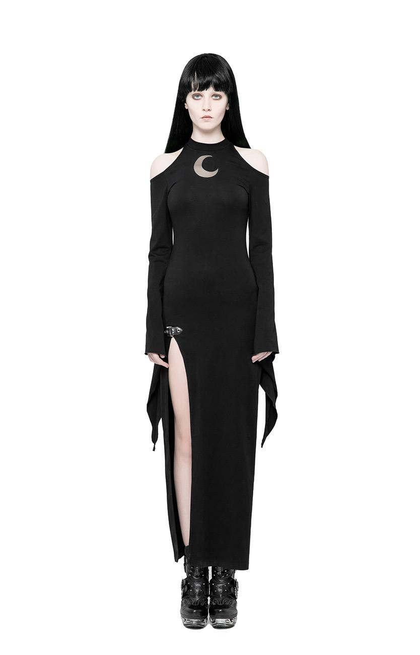 nero a trasparente lungo nuda Gothic luna Rave Punk abito fessura e Spalla xnSqfFwCYw