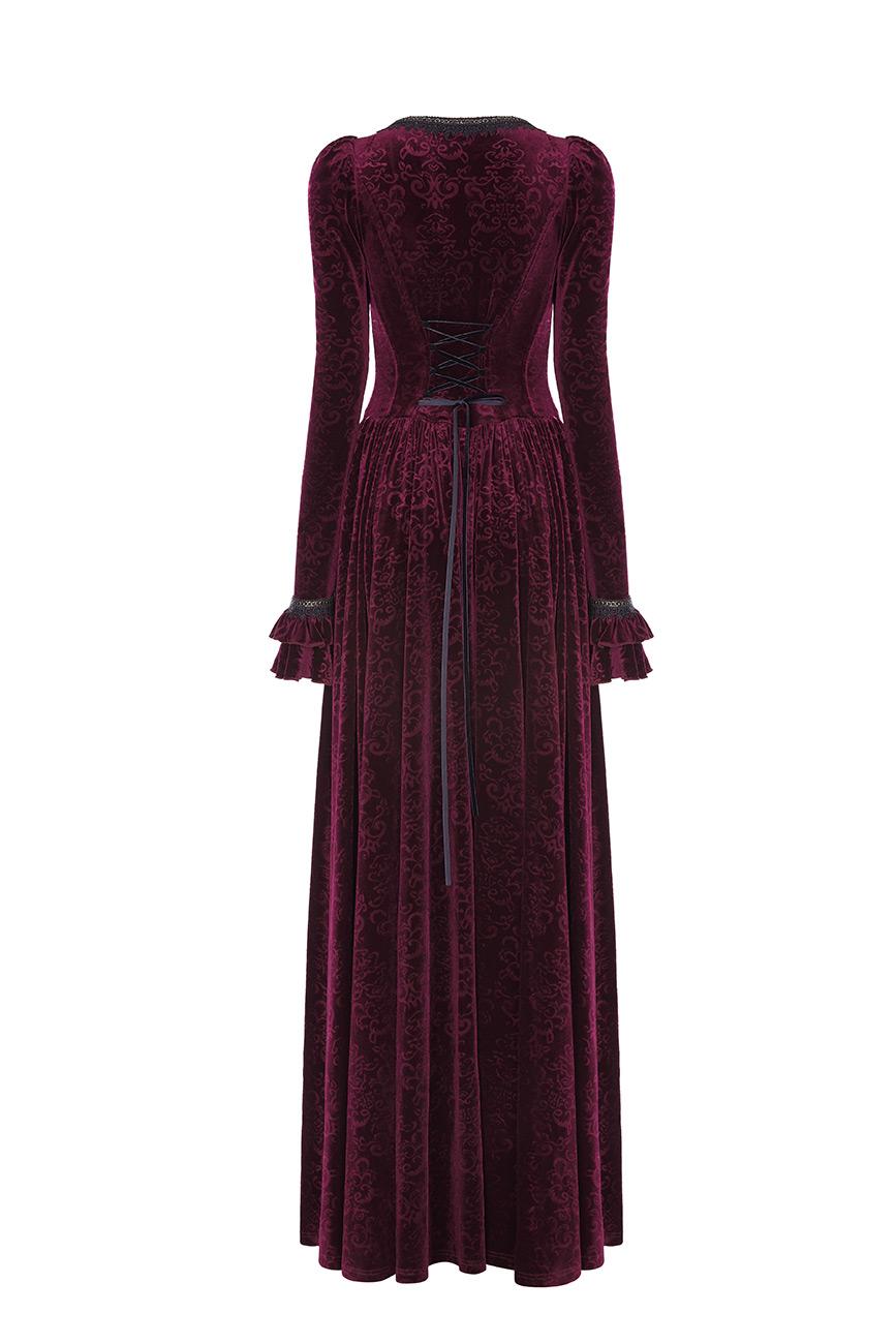 Robe Avec Et Rouge RomantiquePunk En Velours Longue Broderies LaçageGothique Rave RéférencePunkr0469 8wnOP0kX