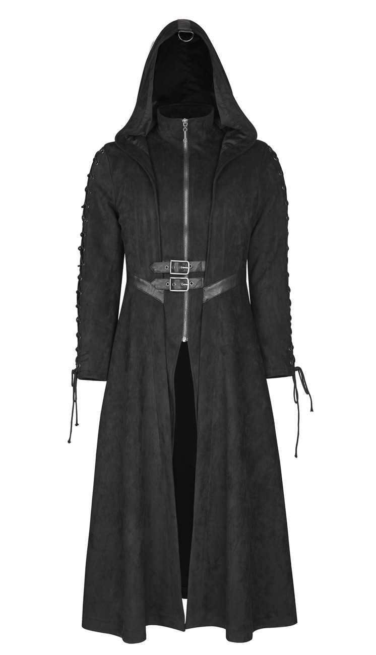 Manteaux long noir homme, laçage sur les manche et sangle