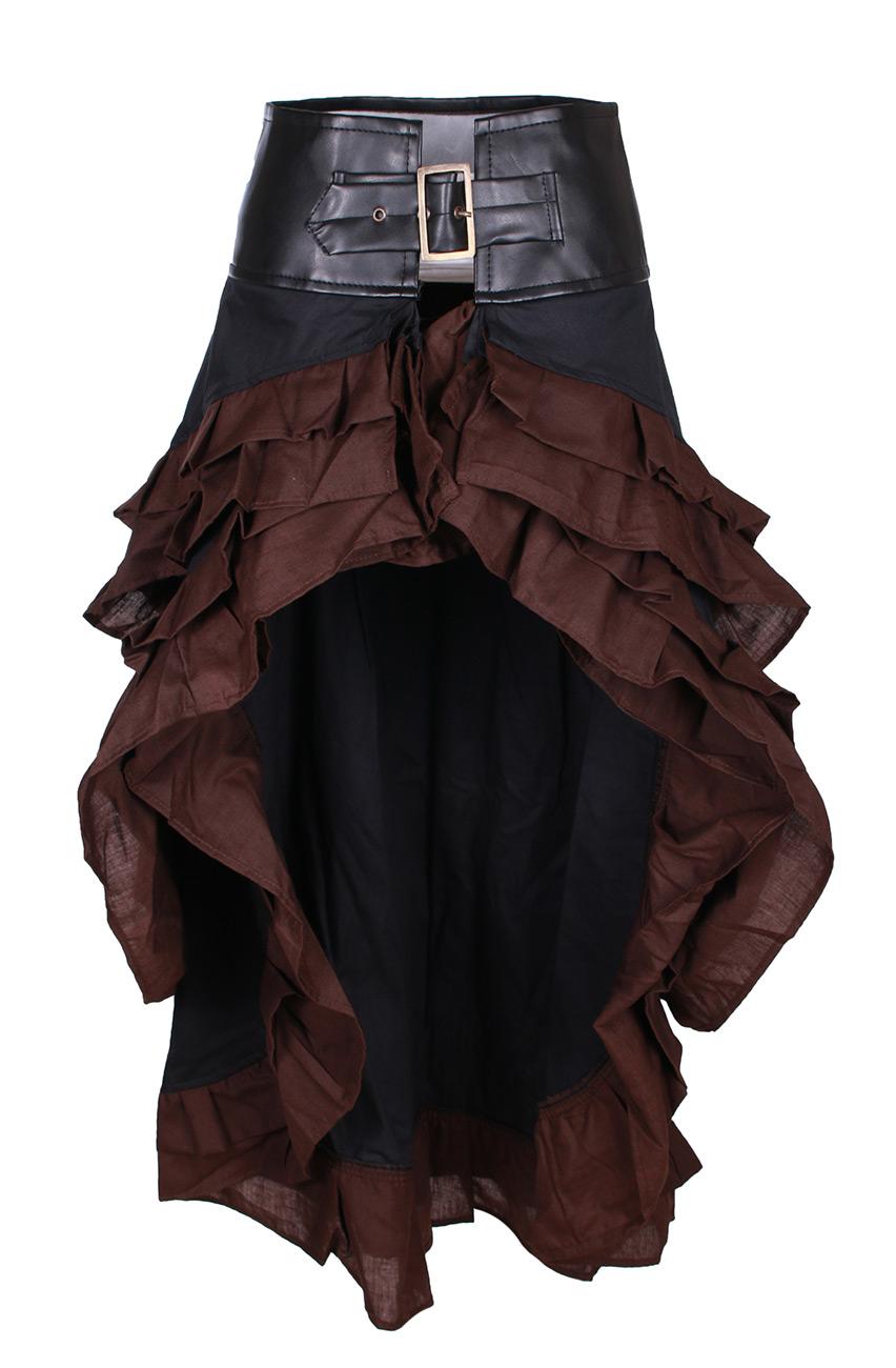 Jupe blacke asymétrique, grosse ceinture et bordure brown, steampun Steampunk Co