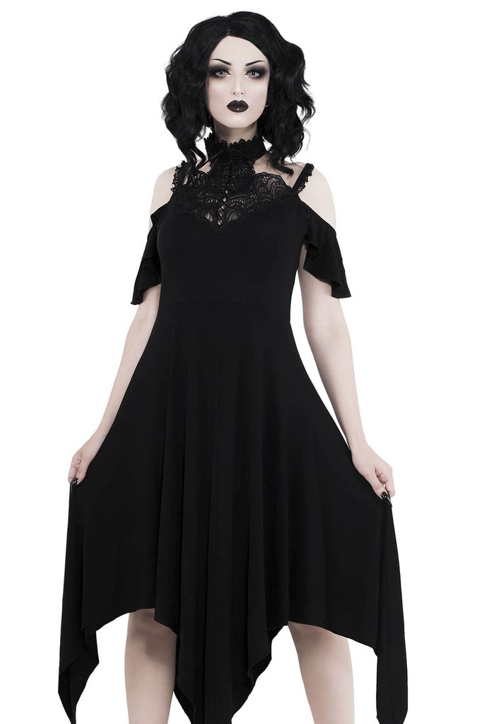 3ac53eb3b0 Fluid Black Dress with Strap and Lace Collar