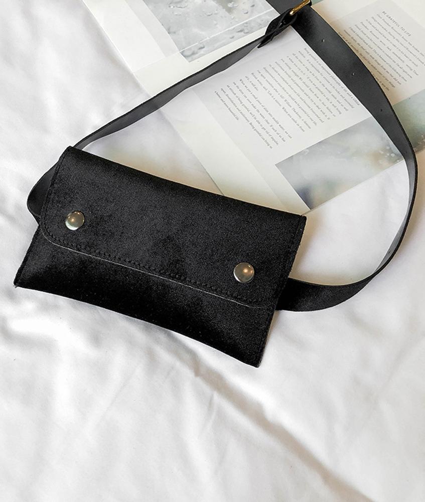 Ceinture et pochette amovible en velours noir, gothique casual ... 222c5830e61
