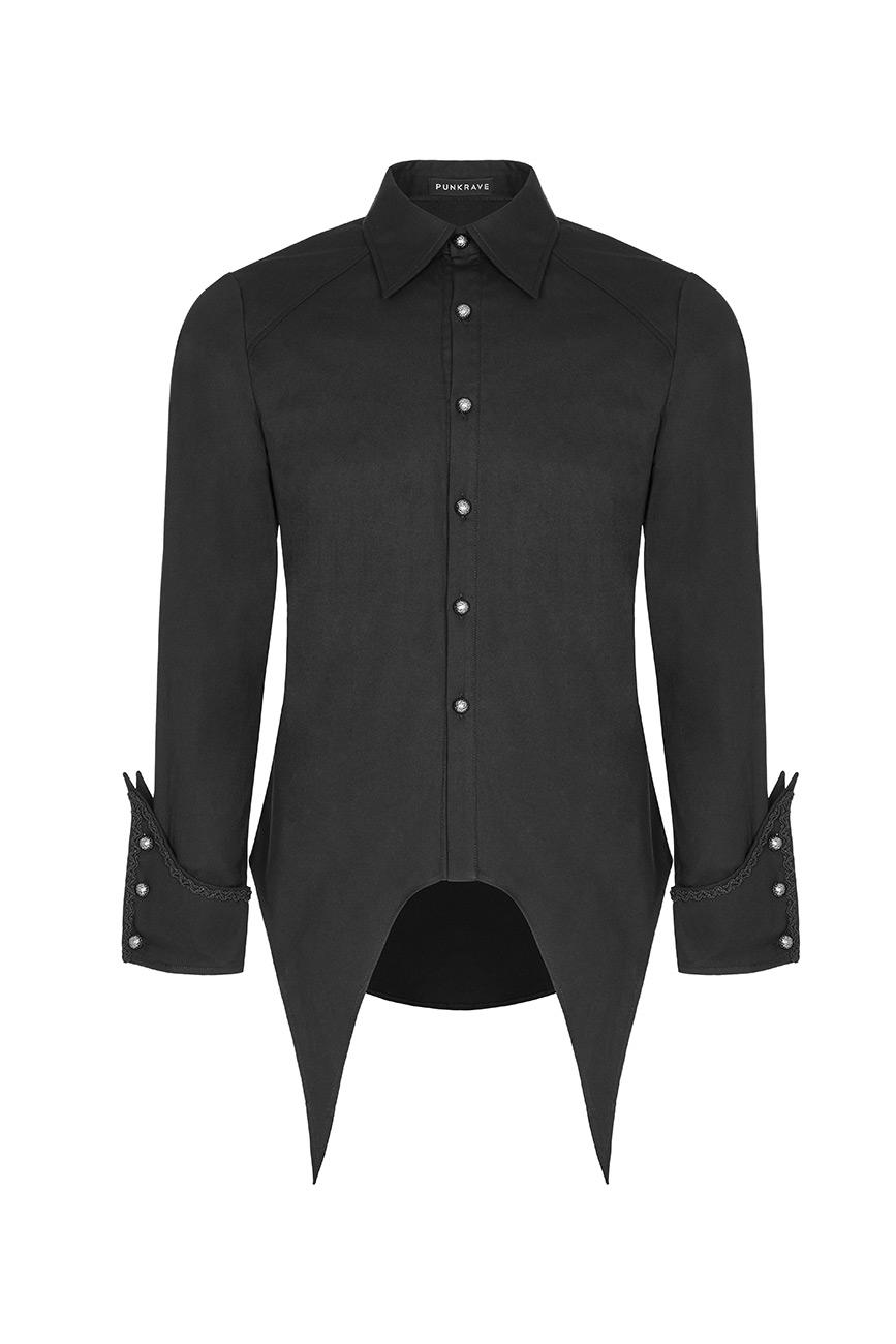 Schwarzes Hemd Herren, vor und an den Ärmeln in Spitzen, Gotik , Punk Rave