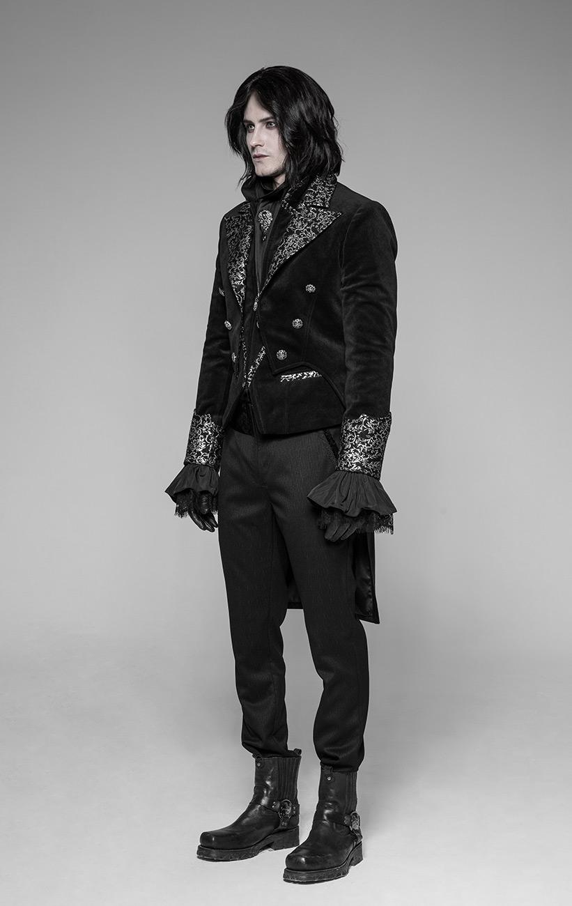 veste noire homme queue de pie velours et col motifs. Black Bedroom Furniture Sets. Home Design Ideas
