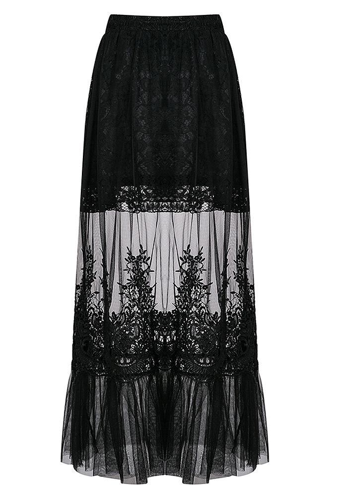 Jupe Longue Transparente Noire Dentelle Et Broderie Gothique Elegant Japan Attitude Darkil090