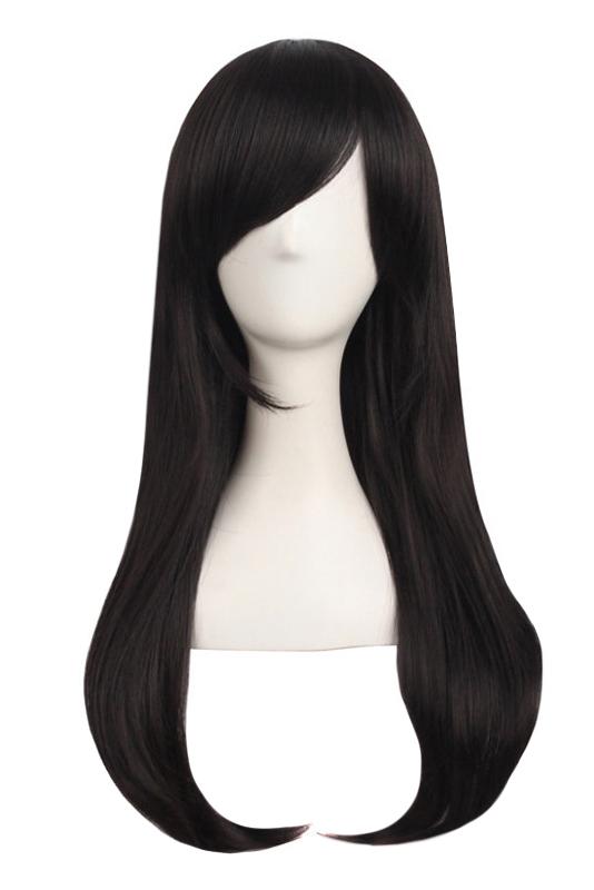 Perruque brune noire avec mèche lisse longue