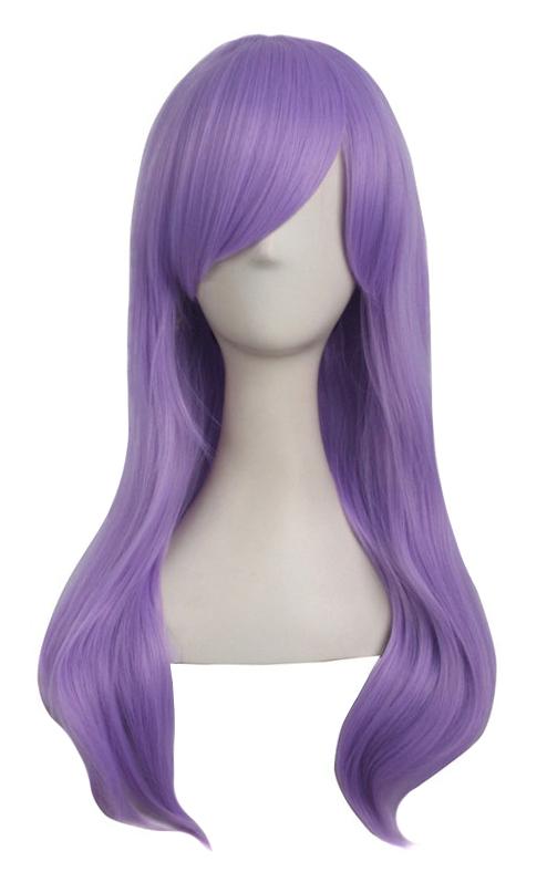 Perruque violet mauve avec mèche lisse longue