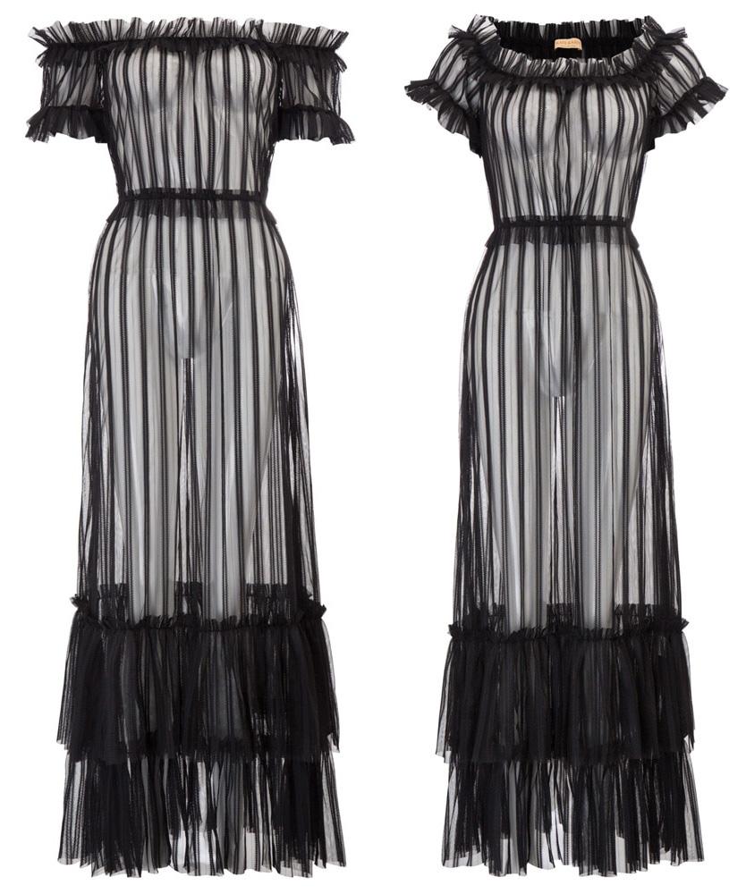fe69c2ace09 Robe longue à rayures totalement transparente et élastique
