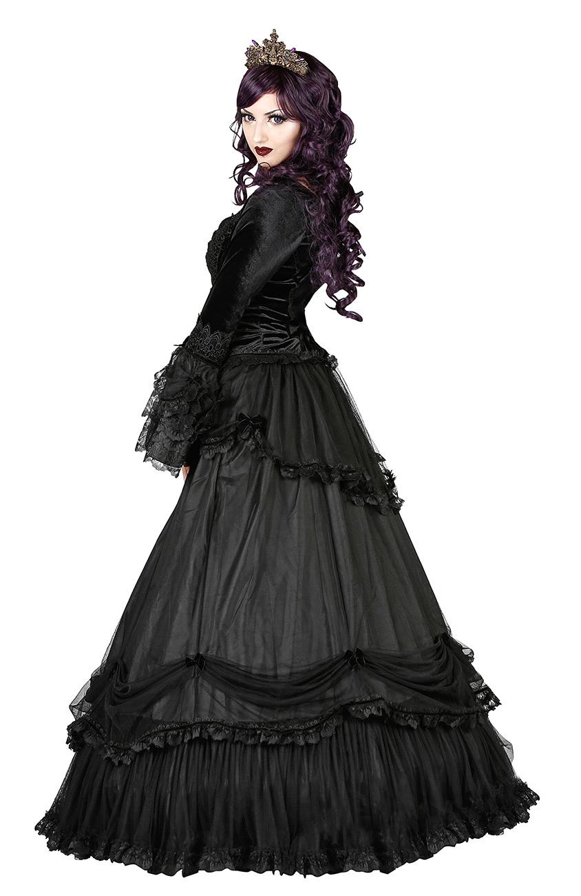 Jupe Longue Noire Drape Bas Bordures En Dentelle Gothique Romantique Sinister Japan Attitude Sinis0006