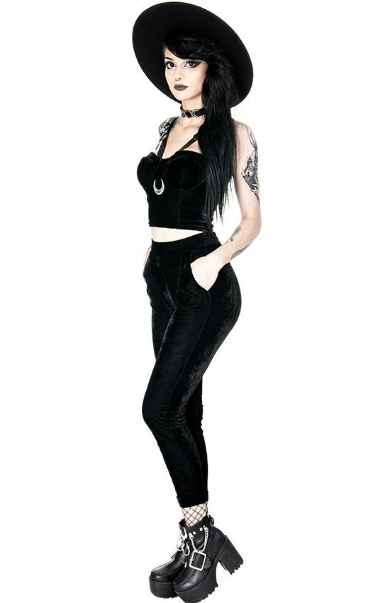 Crop top  negro en velours negro, harnais en imitation cuir et lune ar Restyle  100% precio garantizado
