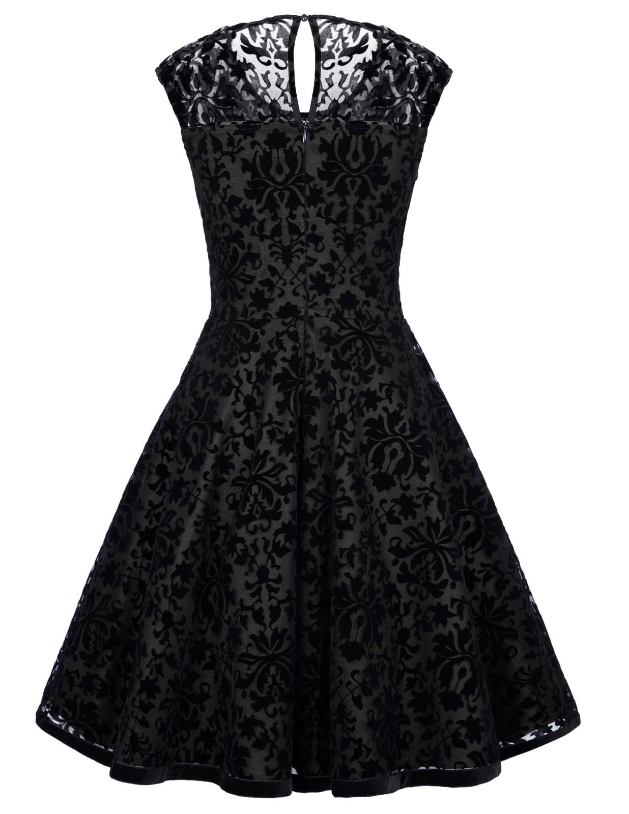 Vestito satinata nero con pizzo nero floccato, retro retro retro vintage gotico 8861a2