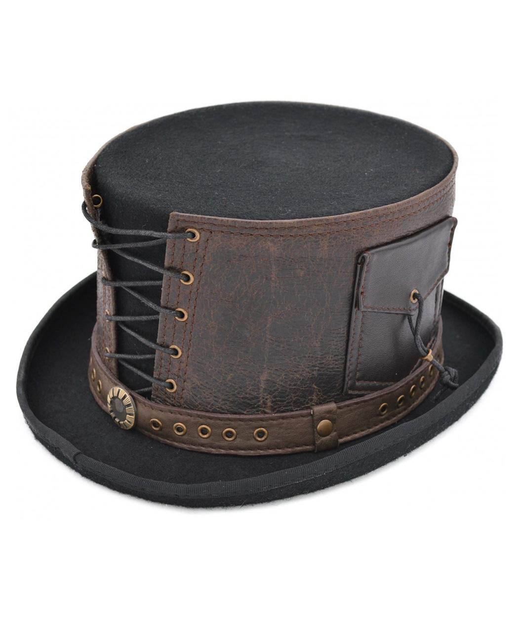 performance sportswear high fashion genuine shoes Chapeau haut de forme feutrine noire, cuir marron avec laçages et poches,  steampunk Référence : ACCCHA382