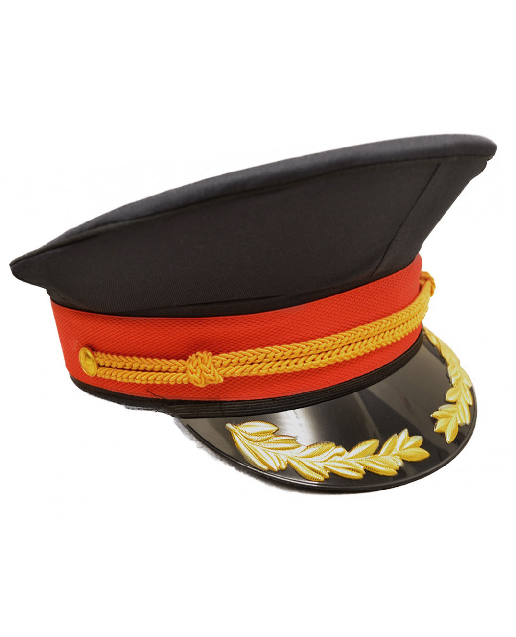 Military Black dark blue red hat cap with golden stripes 8391c6ee4cd