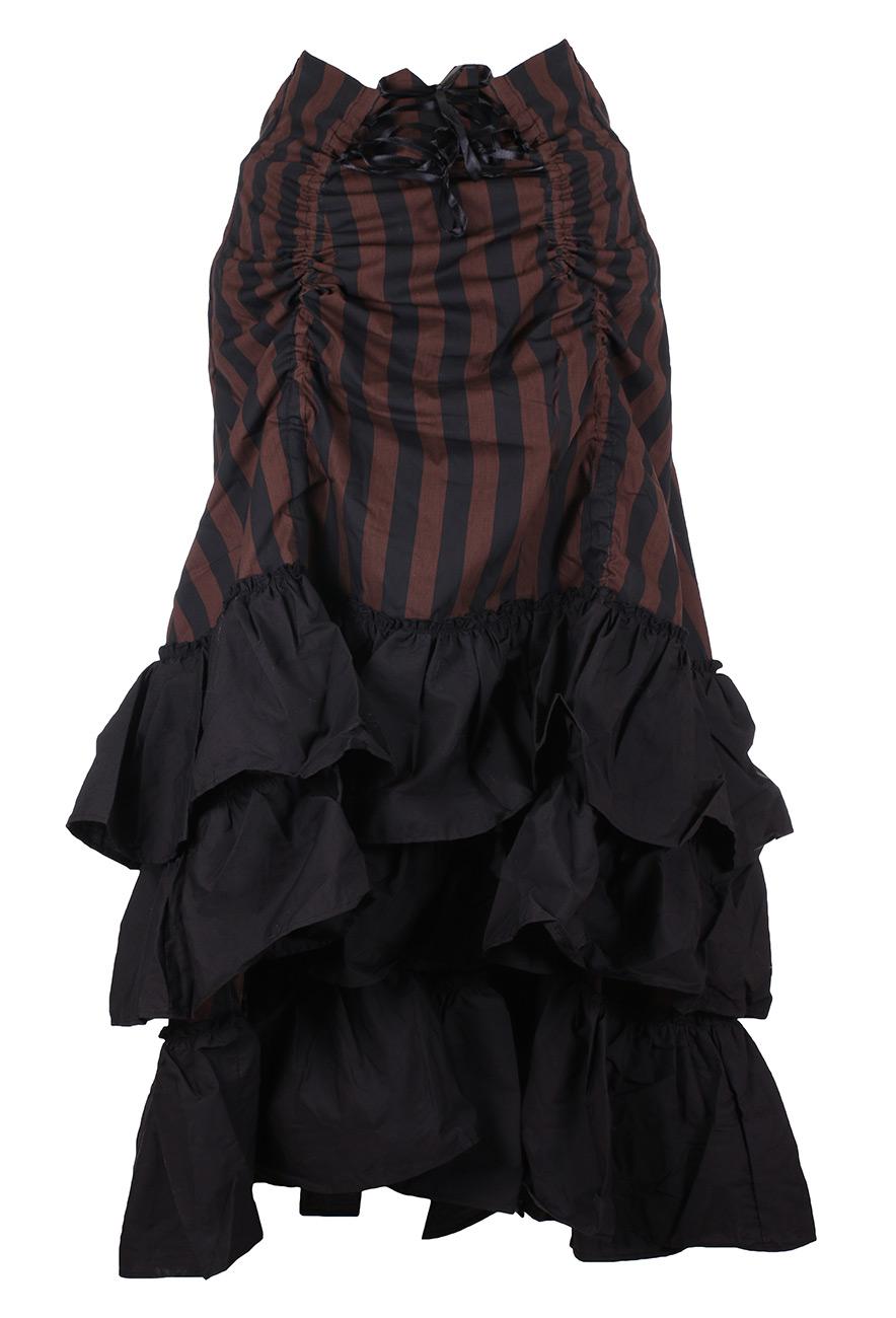 Jupe rayée marron et noire, hauteur réglable au dos, 3 volants noir,  victorien 164ca7092a2