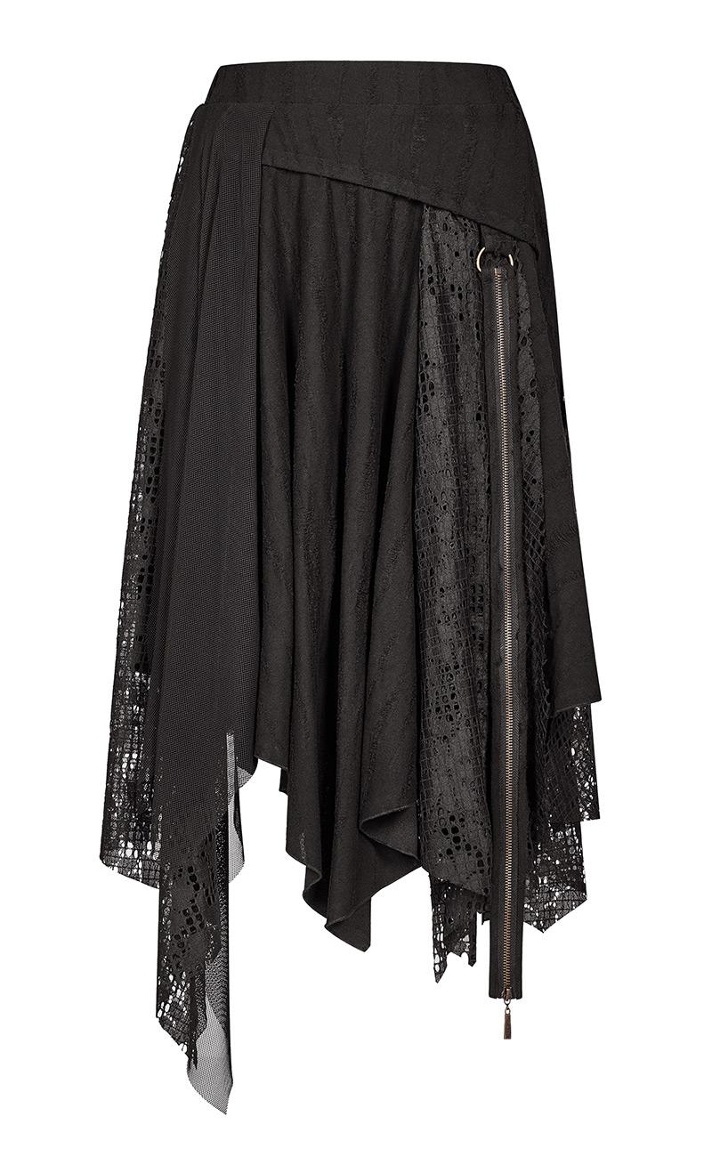 Jupe blacke effet lambeaux de tissus, dentelle et résille, steampunk Punk Rave