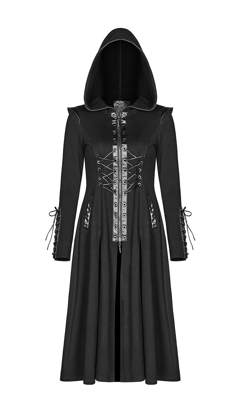 Long manteau noir à capuche, laçage et bordures en faux cuir, gothique  vampire, d59708adbcb0