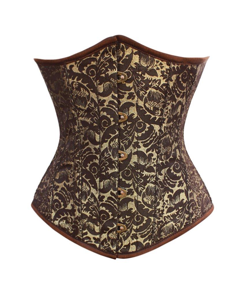 Serre size brown et doré, motifs vintage et baleines en acier, steampunk aris