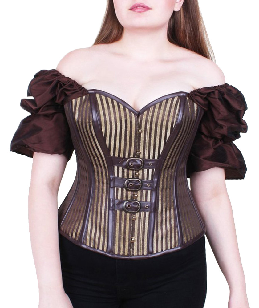 bc16d69e78 Corset brown stripes golden with sleeves satinées