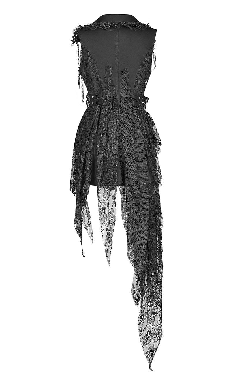 Veste blacke cintrée asymétrique, boutons anciens et lambeaux de den den den Punk Rave 0e7760