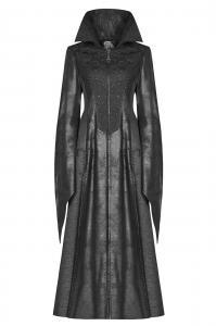 regard détaillé a4d6a 357fb Veste longue noire effet cuir avec broderies, gothique vampire ock punk  rave Référence : PUNKR0564