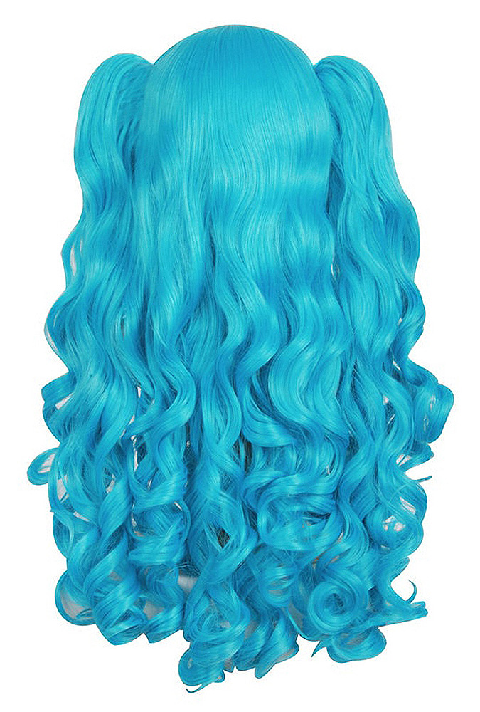 Long curly blue wig, 71 cm with ponytails, cosplay Miku Vocaloide SKU :  ACCWIG939