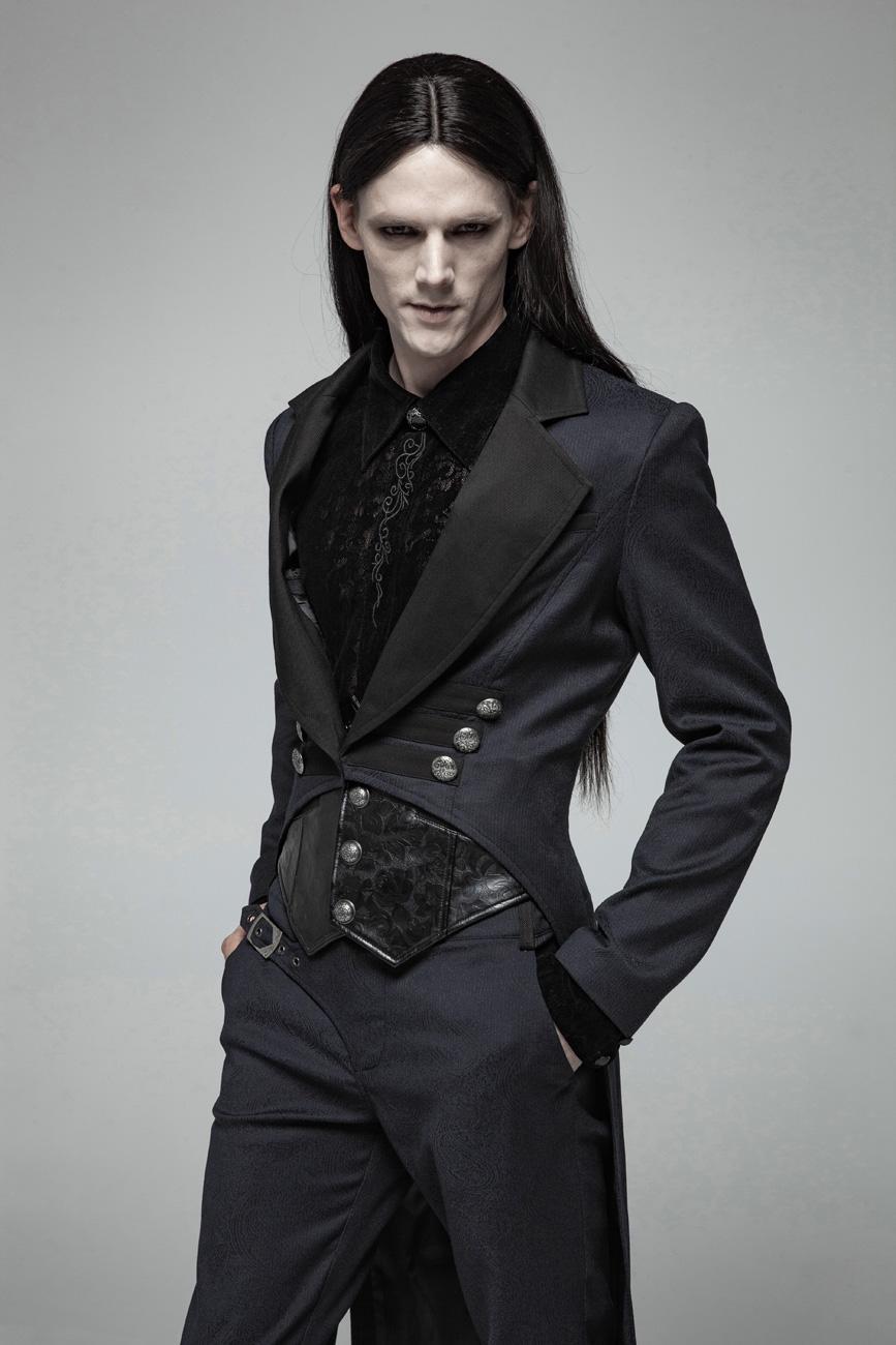 veste homme bleu fonc col noir queue de pie victorien. Black Bedroom Furniture Sets. Home Design Ideas