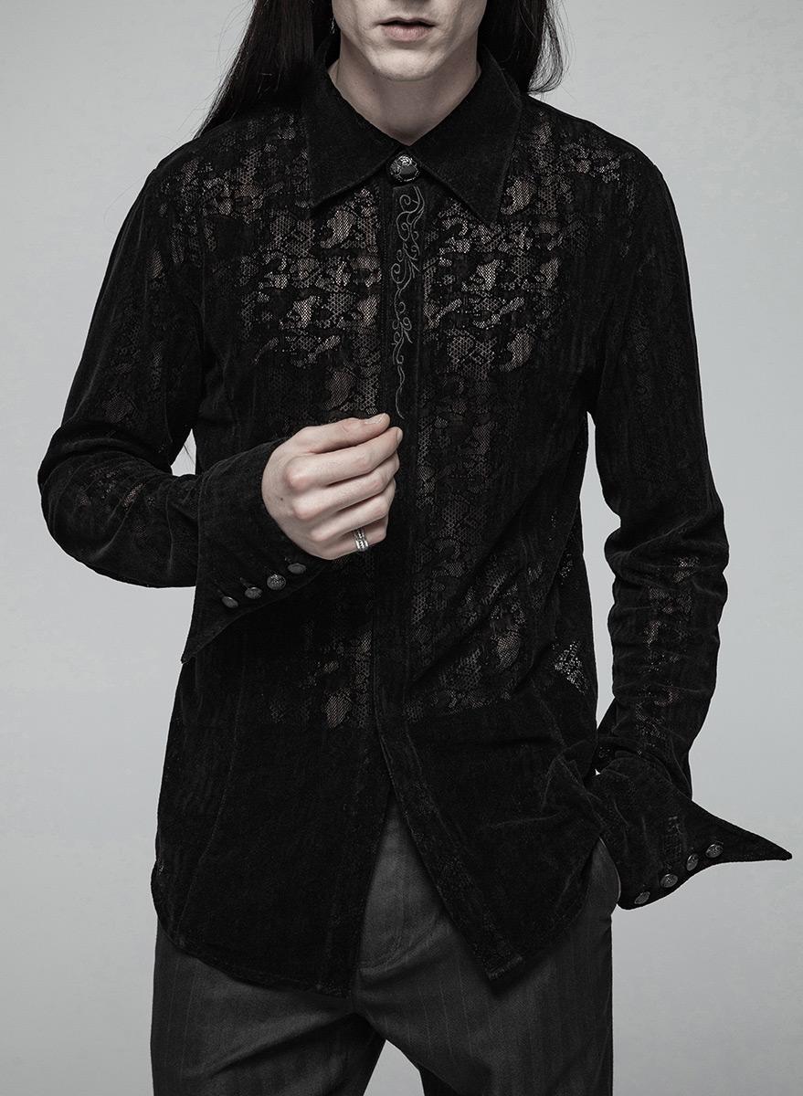 3cd642525d8c1b Chemise noire homme, dentelle en velours avec broderie, gothique élégant,  Punk Rave