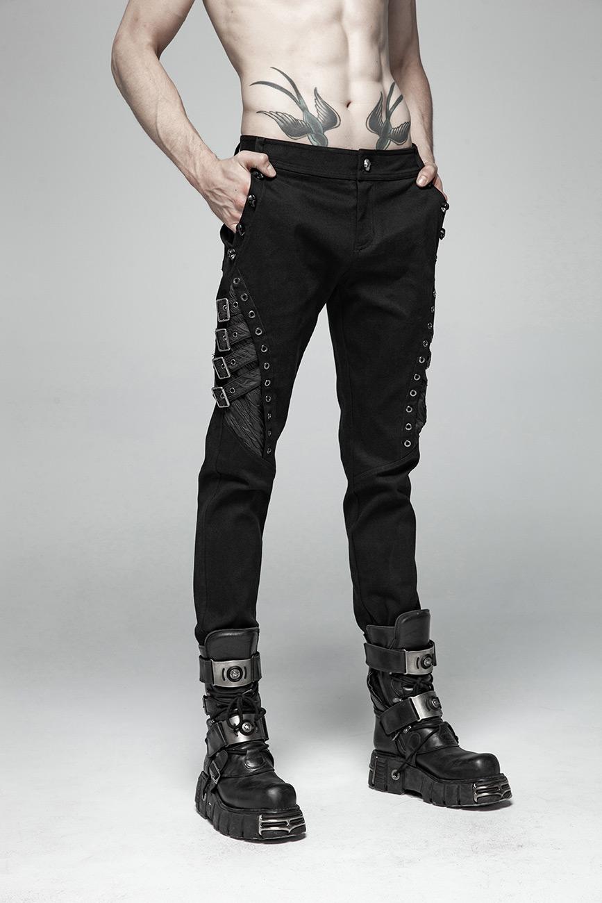 Steampunk Jeans Pants Trousers Gothic Punk Eyelets Strap Pocket PunkRave Men Bk