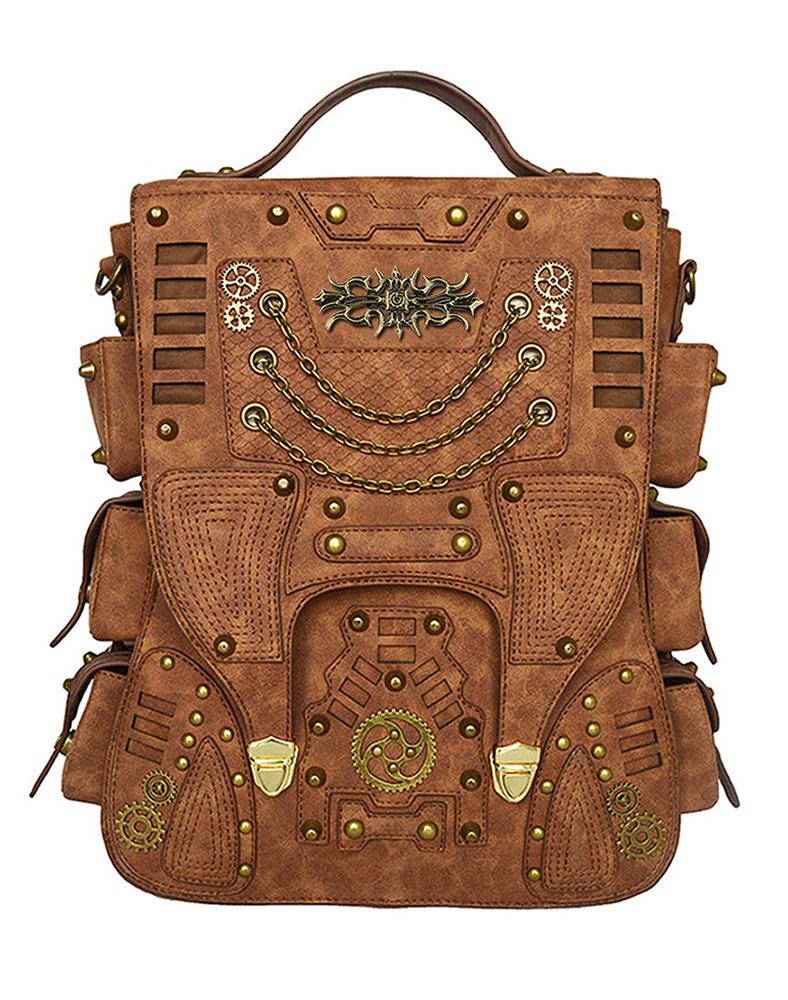 Sac à dos steampunk faux cuir marron, poches, engrenages et ...
