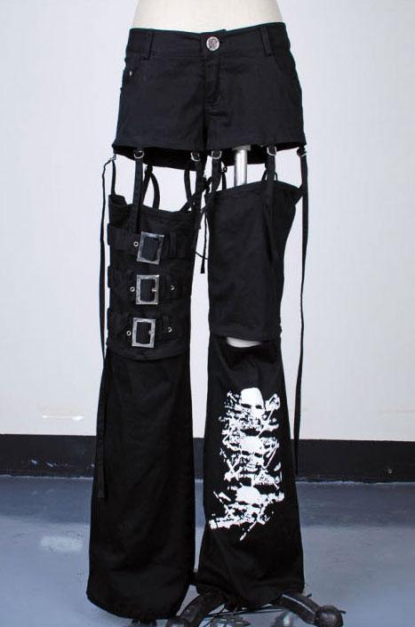 pantalon avec jupe noir sangle et t te de mort k 013 japan attitude vetpan027. Black Bedroom Furniture Sets. Home Design Ideas