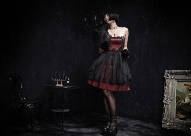 7c98f7a204ef Robe noire et rouge avec dentelle Pyon Pyon LQ-040   JAPAN ATTITUDE ...