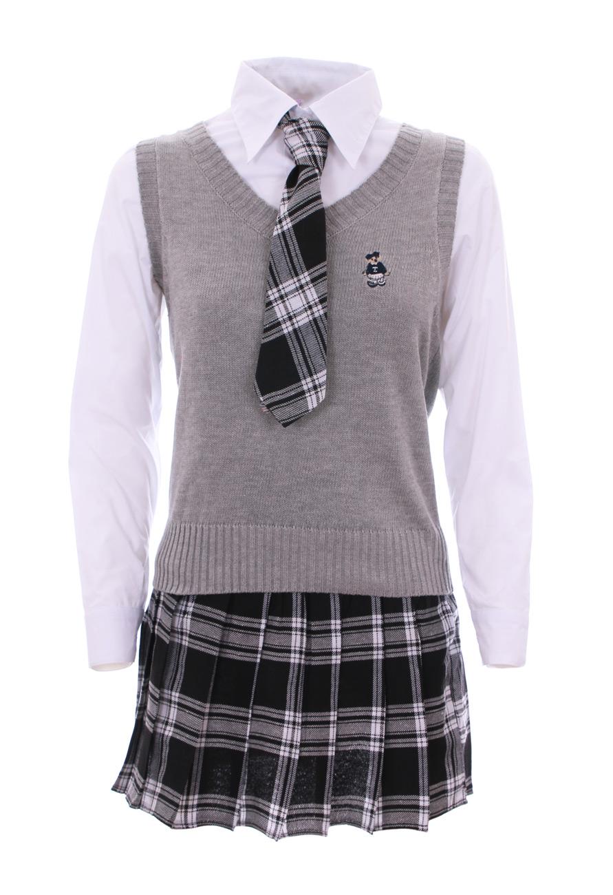 Quatre mers, Xiangyun, Fulai, cadeau du Nouvel An, non-stop non-stop non-stop Tenue écolière japonaise grise, blanche + gilet + cravate d68813