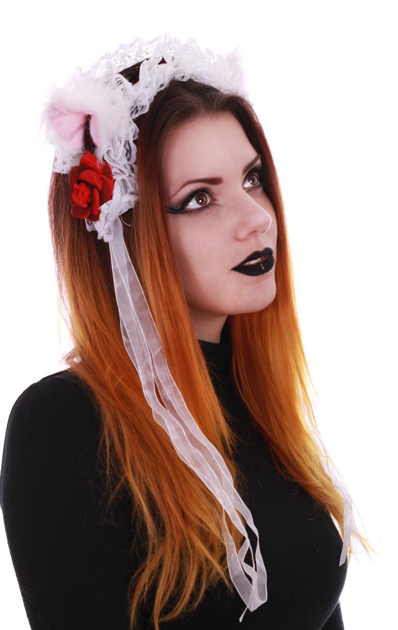 Serre t te gothic lolita blanche et rouge avec oreilles de chat japan attitude accset063 - Oreille de chat serre tete ...