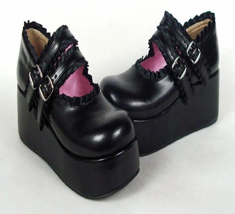 JAPAN gt; lolita compensée semelle avec Chaussures gothique noire pxqUn1