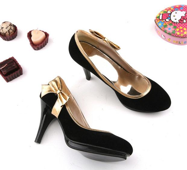 Chaussures escarpin noir et doré avec noeud   JAPAN ATTITUDE - CHAUSS008 4bfbd8d2472c