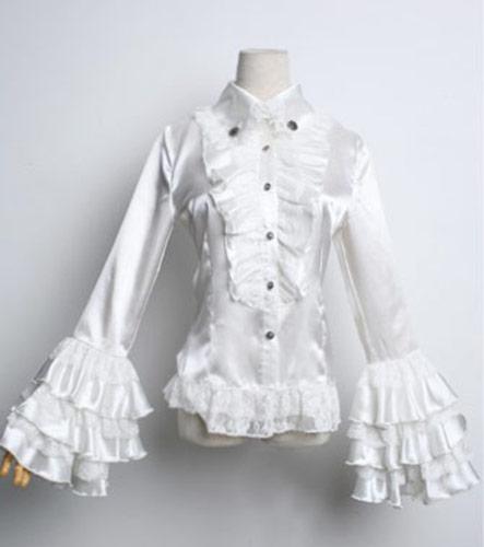 chemise blanche en satin avec jabot et manches en dentelle japan attitude vetche053. Black Bedroom Furniture Sets. Home Design Ideas