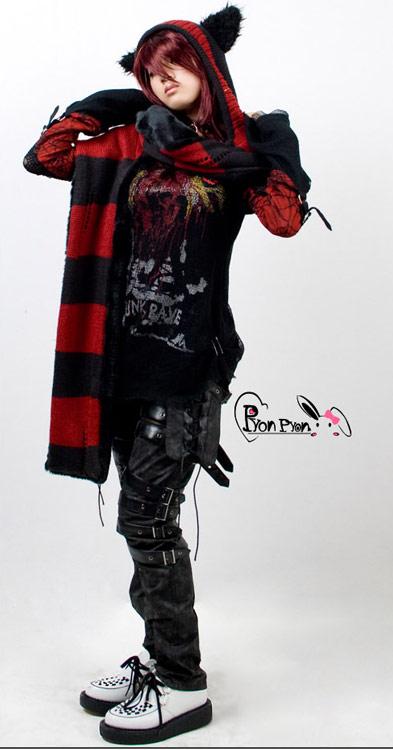 Bonnet écharpe noire et rouge rayé avec oreille de chat foulard LS ... 6c196835fd1