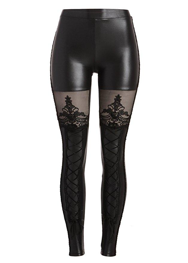 promo code 100% authentic dirt cheap Leggings noir avec décoration et dentelle punk rave K-144 Référence :  VETPAN067