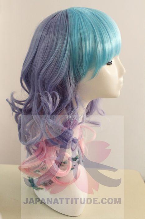 503d2393819 Perruque mi-longue multi-color bleue violette et rose 40cm