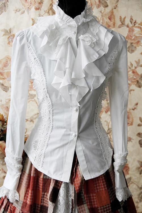 chemise blanche avec jabot int gr et dentelle infanta japan attitude vetche061. Black Bedroom Furniture Sets. Home Design Ideas