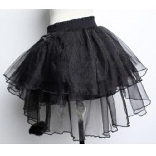 jupon noir avec tulle avec pompons et rubans japan attitude vetjup126. Black Bedroom Furniture Sets. Home Design Ideas