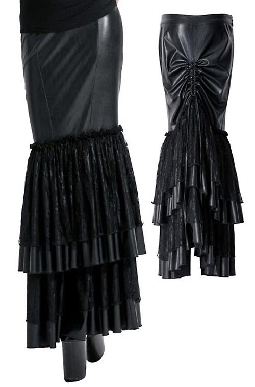 jupe longue moulante vinyl avec volants pliss s gothique punk rave q 194 japan attitude. Black Bedroom Furniture Sets. Home Design Ideas