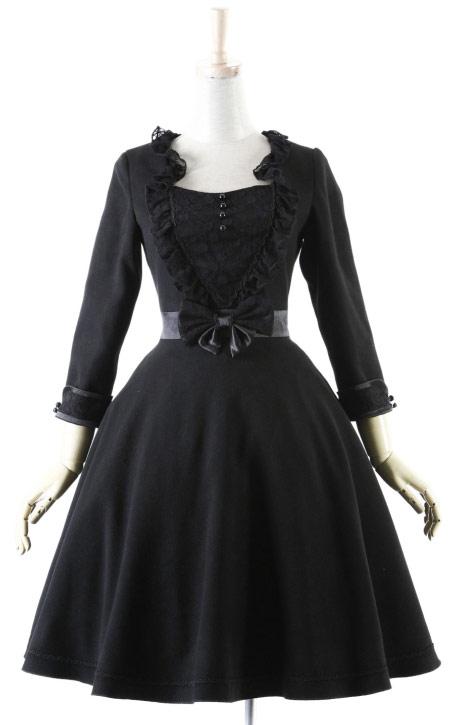 d5b38b1564b7 Robe noire sobre avec ceinture noeud et dentelle sur le buste Pyon Pyon  LQ-031
