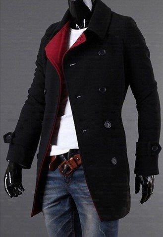 manteau noir int rieur rouge classe japan attitude vetves159. Black Bedroom Furniture Sets. Home Design Ideas