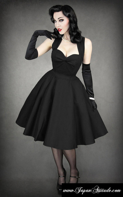 Black Dress Heart Neckline Elegant Pin Up 50 Japan Attitude