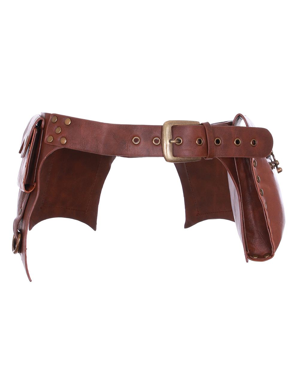 Steampunk utility ceinture en noir ou marron en cuir synthétique avec poches /& rivets