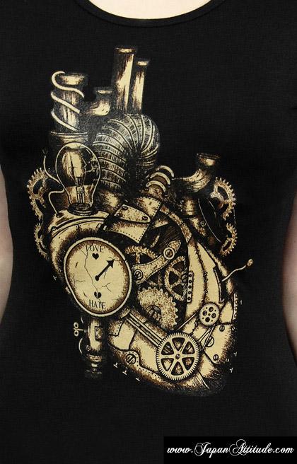 Coeur Steampunk black t-shirt mechanical heart steampunk > japan attitude - vettop139