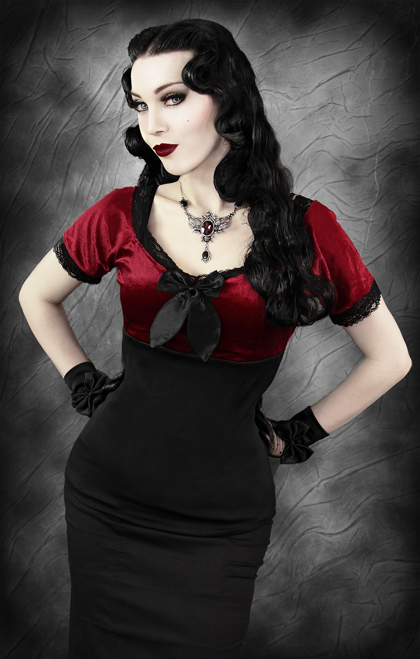 chemisier romantique noir et rouge en velours d collet avec noeud sp cial corset japan. Black Bedroom Furniture Sets. Home Design Ideas